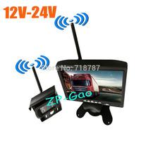 "Wireless 18 IR LED Car Bus Truck Rear View Kit  CCD Reversing Camera + 7"" LCD Monitor 12V-24V Free Shipping"