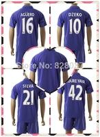 New Fashion Manchester Kit Uniforms Kun Aguero Silva Jovetic Yaya Toure Purple 3RD Soccer Jersey 2014-2015 Nasri Dzeko Jersey