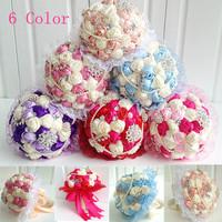 Lace Ribbon Rhinestone Bouquets Wedding Bridal Flower Bouquets Artificial Rose Bouquets Wedding Decoration hand throw bouquets