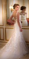 2015 Best Sales Lace Mermaid Wedding Dress Backless Train White Wedding Gowns Fast Shipping
