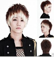 New fashion short hair wig  Synthetic  two tone ombre brown white blonde wig bangs cool male cosplay wig