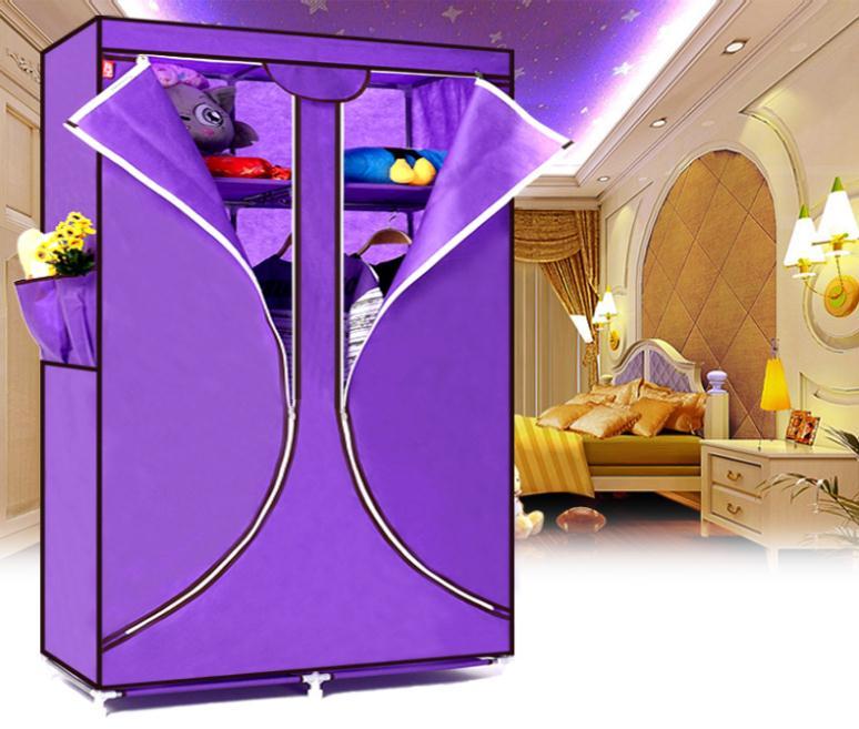 Free Shipping! New Portable Folding Clothes Closet Wardrobe Armoires Storage Rack Garment Hot(China (Mainland))