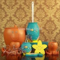 Children's best gift 8 pieces cartoon bath accessories with resin tissue box+garbage bin+toilet brush HXZY-8