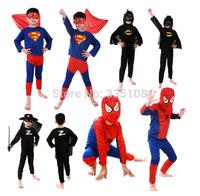 Retail Hot Baby Halloween Clothing sets Boys Spiderman/Batman/Superman/Zorro Costumes child Cosplay Kids Halloween Gift