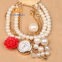 rose flower women dress classic watch accessories analog rhinestone diamond watch pendant pearl bracelet ladies luxury watch