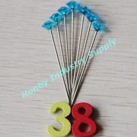 Plastic Diamond head Corsage Pins 1 1/2'' Light Blue