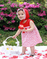 baby girl clothes print kids baby suit  sleeveless girls 3pcs children summer clothes with cap red two piecse sets 100%cotton