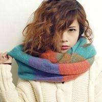 Fall/winter 2014 Korean women Turtleneck collar heavy wool mix double circle scarf scarf colour scarf