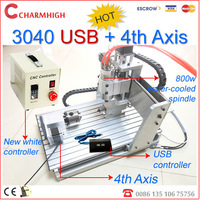2014 New (USB controller CNC3040 +4th axis) CNC Router CNC engraving machine, 800w spindle motor +1.5kw VFD