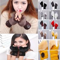 Factory wholesale women warm imitation fur gloves, thread button half that warm plush wool knit gloves free shipping