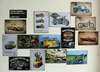 Retro metal decorative paintings rustic  rural posters coffee shop home decor metal painting 2030 motor