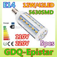 5pcs LED Corn bulb light E14 42LEDS 12W 110V 220V White/Warm White lamp Spot light Energy saving lamps High Bright 360 degree