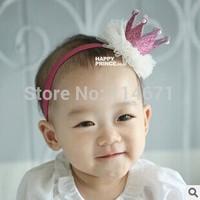 Free Shipping(10pcs/Lot) 2014 New Fashion Korean Style Crown Baby Powder Lace Headband Infants Elastic Hair Band Baby Beauty