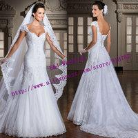 New Arrival Fashionable Romantic Cap Sleeve Appliques White Ivory Lace Noiva Mermaid Wedding Dress 2015 Vestido De Noiva