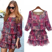 New 2014 Vintage Floral Printed Round Collar Pleated Short Dresses Chiffon Ruffles Plus Size Women Clothing 5XL