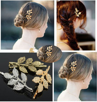 New Fashion Metal Leaf Hair Pin Women Gold Plated Leaf Hair Clip Hair Pin Hairwear Bridal Jewelry Multi Colors Hot Selling