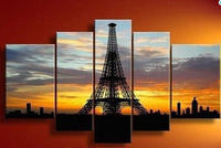 Hand painted Back Oil Wall Art  Sun Eiffel Tower Home Decoration Abstract Landscape  Painting on Canvas 5pcs/set