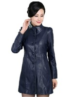 Fall And Winter Clothes New genuine leather jacket Lady Medium-Long Slim Plus Size Plus Cotton leather Trench Clearance