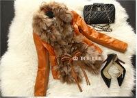 Low Low Low! Fashion Women Genuine Fox Fur and Sheep Leather Jacket Coat Nature Fox Fur Outerwear EMS Free Shipping  2014 TP158