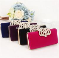 Designer Clutch Wallet 2014 Fashion High-grade Diamond Bag Clutch Evening Bag Shoulder Bag Black/Blue/Purple/Red