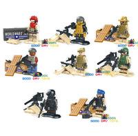 Pre-sale!! LELE 78064 8pcs/lot SWAT police Armed men mini figure S.W.A.T ARMED world war brick building block toys