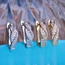Precioso Boutique Marriage Anniversary Earrings Shiny Brand CZ Diamond Gold Brincos Bijuterias Fashion Women Brinco Ouro