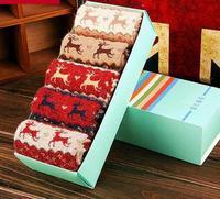 New 2014 Christmas Wool socks women thermal winter rabbit wool socks female thickening towel 100% cotton socks gift sock box NM