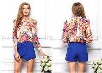 Fashion Casual women's long sleeve shirt sexy Plus Size Women Blouse chiffon shirt flower snow spins bodycon blouse S/M/L/XL 21