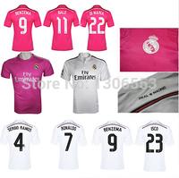 RONALDO JAMES BALE SERGIO RAMOS 8 KROOS 23 ISCO Real Madrid Shirt 14 /15 Home Away Thailand quality soccer jersey Spain