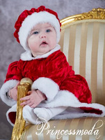 New Arrive Merry Christmas Gift Santa suits Kids' Clothing Girl's long sleeve red dress + hats kid's sets