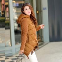 Free shipping New 2014 Fashion Ladies Down Short Design Coat Winter Jacket Women Slim Solid Zipper Outerwear