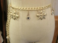 women brand Maple Leaf shape gold waist chain  with Pearl pendant rhinestones waist chain women belt