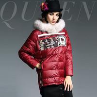 2014 fashion high quality fur collar luxury letter applique cutout grid down outerwear
