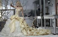 New Sexy Gold Sweetheart Wedding Dress Organza Tatteta Formal Gown Gowns Train Length Sleeveless