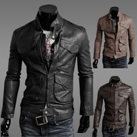 New 2014 Autumn and Winter Men's Fashion  Slim Casual Leather Jacket Men PU Leather Coat DJK16C