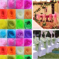 Free Shipping  50 pcs Wedding Organza Chair Cover Sashes Sash Party Banquet Decor Bow Colours