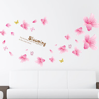 Pink Lily Flower  Wall stickers Wedding Wall Decorations TV Sofa Wall Home Wall Decals