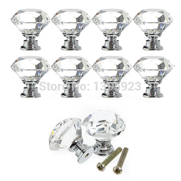 10pcs/Pack 30mm Diamond Crystal Glass Door Drawer Cabinet Furniture Handle Knob Screw(China (Mainland))