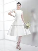 Bateau Knee Length Women Short Satin Open Back Draped Wedding Dresses Ball Gowns
