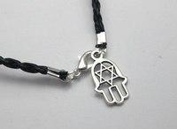 "20 Black Leatheroid Braided String ""Star of David"" Hand Charm Good Luck Bracelet"