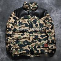 2014 winter bape newest hip hop men down jacket windbreaker camouflage leather pocket outwear badge fashion warm padded coat