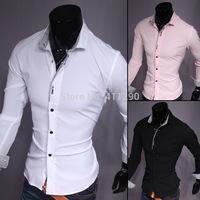 Men Korean hit color striped long-sleeved shirt Slim Mens Stretch shirts