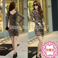 Sexy Leopard Vestido Cherrykeke Mini Sheath Women Dresses Party Nightclub Dress Long Sleeve High Quality Dress