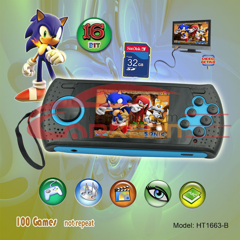 2.8 Inch Handheld Game Players,sega game , Pre 100 games+MP3+MP4+JPG+TV OUT+SD extension, Portable Game Console For SEGA(China (Mainland))