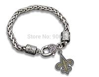 Free Shipping 20pcs a lot  antique silver Enamel New Orleans Saints sprots Charm bracelet