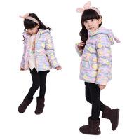 2014 Girls rabbit  hooded coat, Girls winter Jacket kids Outerwear  Children's Coat  Baby winter Coat Kids camouflage ouvercoat