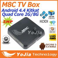 Original M8/M8C TV Box Amlogic S802 Quad Core XBMC Gotham Android 4.4 2.4G 5G 2GB/8GB 5MP Mic Bluetooth 4.0 Famous APPS ADD ONS