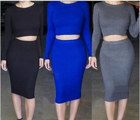2014 Fashion Sexy Womens Dress Vestidos 3 Colors O-Neck Long Sleeve Hollow Out Bodycon Party Dress KF645 S M L Plus Size