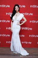 Floor Length Evening Prom Celebrity Dresses 2015Fashion Mermaid Short Sleeve White Satin Sequins Beading