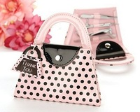 Free shipping 100set/lot Pink Polka Dot Purse Manicure Set  wedding baby shower favors Party Birthday Promotional gifts